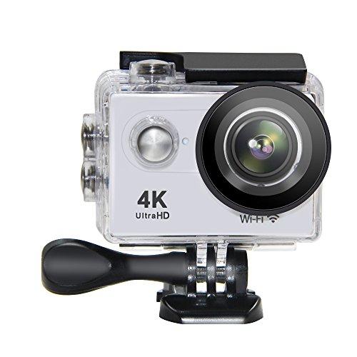 Action Camera NTSE Ultra HD 4K WiFi Sport Camera 1080P/60fps 2.0 LCD 170D Lens Helmet Cam Go Waterproof Pro Camera 30m Waterproof Cameras (White)