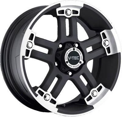 V-TEC Warlord 394 Matte Black Machined Face Rear Wheel with Chrome Bolts - Light Matte M20
