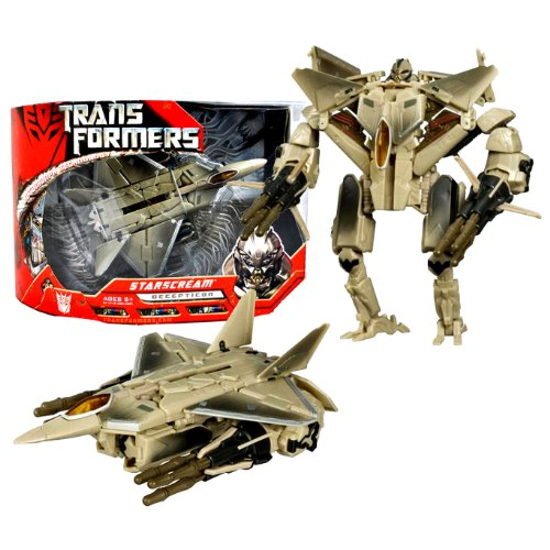 Hasbro Year 2006 Transformers Movie Series Voyager Class 7 Inch Tall Robot Action Figure - Decepticon STARSCREAM with 2 Missile Launchers Attach to Arms and 6 Missiles (Vehicle Mode: F-22 Raptor Jet)