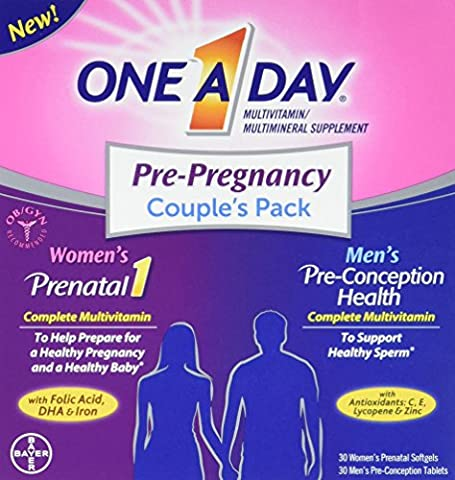 One A Day Pre-Pregnancy Couple's Pack Multivitamin,30 Count, 2 Pack (One A Day Bayer)