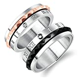 AnaZoz 2PCS Ring Set Stainless Steel Roman Numerals Couple Wedding Band Anniversary Women Size 5 & Men Size 7