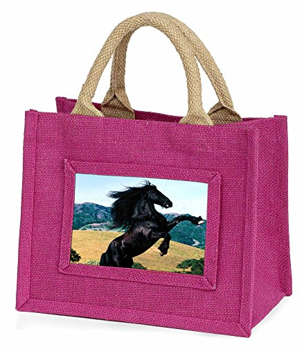 Advanta Aufzucht schwarz Hengst Little Mädchen Einkaufstasche Weihnachten Geschenk, Jute, pink, 25,5x 21x 2cm