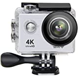 Action Camera NTSE Ultra HD 4K WiFi Sport Camera 1080P/60fps 2.0 LCD 170D Lens Helmet Cam Go Waterproof Pro Camera 30m Waterproof Cameras (White)