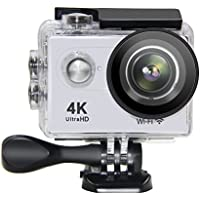 Action Camera NTSE Ultra HD 4K WiFi Sport Camera 1080P/60fps 2.0 LCD 170D Lens Helmet Cam Go Waterproof Pro Camera 30m Waterproof Cameras ( White )