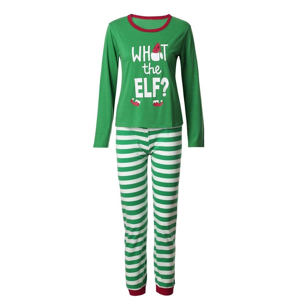 Christmas Mommy &Daddy&Me Women Striped Letter Tops+Pants Family Set Clothes