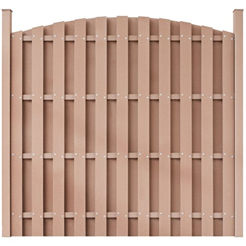 - BestHomeFuniture Garden Fence Panel w/Posts WPC Round Outdoor Privacy Screen Barrier Enclosure, Brown