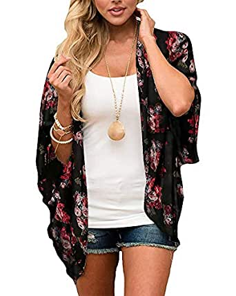 Donnalla Women's Floral Print Kimono Cardigan Cover Ups Short Sleeve Loose Long Tops Beach Cover Up - Black - Small
