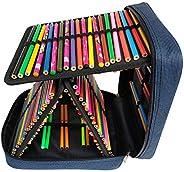 Monoshop 160 Slots Pencil Case - Handy Multi-Layer Large Zipper Bag for for Colored Pencils, Watercolor Pens,
