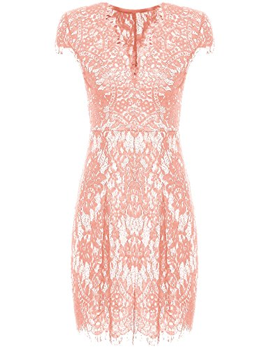 Romwe Women's Gorgeous V Neck A Line Sexy Short Cap Sleeve Lace Dress Peach L