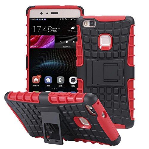 ECENCE Huawei P9 Hybrid Outdoor Funda Cover Coraza Protección Caja Caso Bumper Silicona Negro 41010409 Rojo