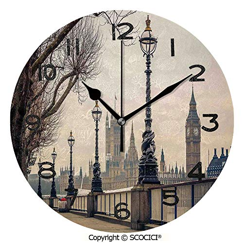 Lantern Mantle Clock - SCOCICI Print Round Wall Clock, 10 Inch Big Ben and Houses of Parliament The Riverside with Retro Lanterns Picture Quiet Desk Clock for Home,Office,School