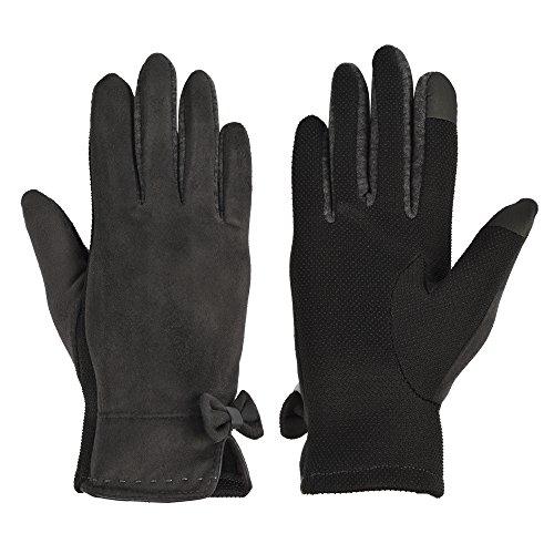 パラディニア(Paladineer)おしゃれなレディースグローブ セーム革 保温防寒 冬 スマホ対応 滑り止め 通勤 通学 アウトドア ファッション手袋 インナーフリース