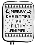 TooLoud Merry Christmas Ya Filthy Animal Christmas Sweater 9 x 11.5 Tablet Sleeve - White Black