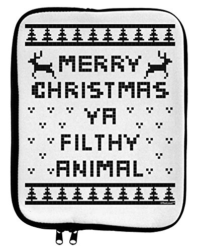 TooLoud Merry Christmas Ya Filthy Animal Christmas Sweater 9 x 11.5 Tablet Sleeve - White Black by TooLoud