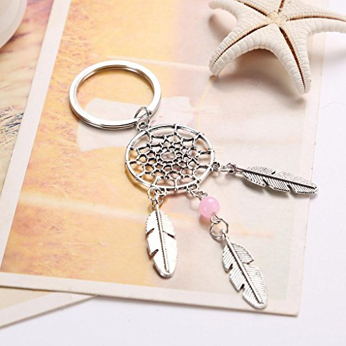 Malltop Women Eye-Catching Bohemia Dreamcatcher Feather Tassel Keychain Bag Car Key Ring Pendant (Style B/11.22.8cm)