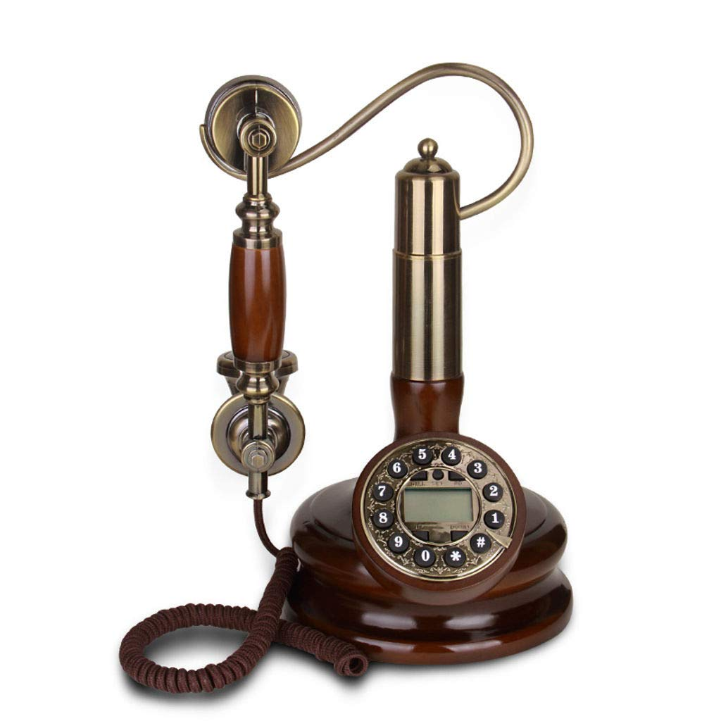Bove Retro Telephone,Old Fashioned Fixed Digital European Style Process Solid Wood Handle Accessories Antique Telephone Living Room Decorative Telephones-A by Bove