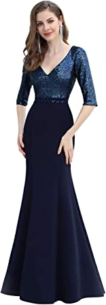 Ever-Pretty Vestidos de Fiesta Sirena Elegant Largo Escote en V Manga Corta Lentejuelas Mujer 00682