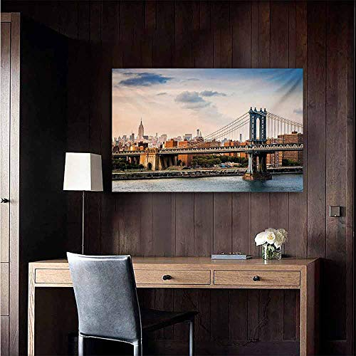 duommhome New York Abstract Painting Manhattan Bridge and The New York Skyline at Sunset East River Highrise Buildings Natural Art 28