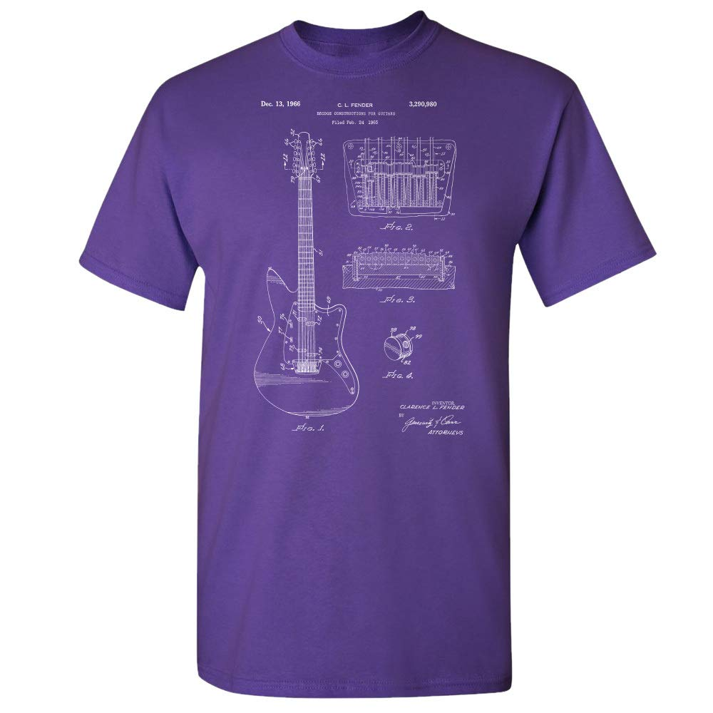 12 String Guitar T-Shirt, Guitarist Gifts, Band Leader, Guitar Player Purple (Large) by Patent Earth