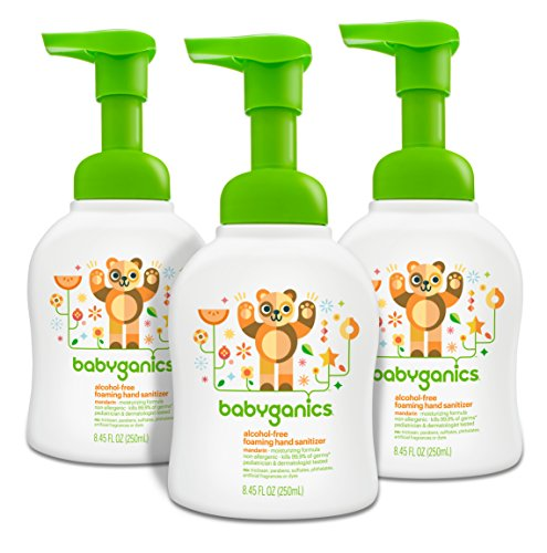 - Babyganics Alcohol-Free Foaming Hand Sanitizer, Mandarin, 8.45oz Pump Bottle (Pack of 3)