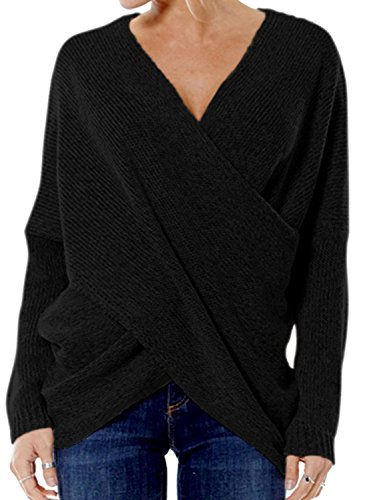 (Joeoy Women's Black Criss Cross Wrap Front V Neck Long Sleeve Knit Sweater Jumper-L)