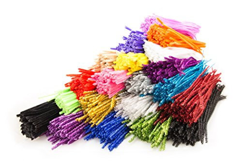 "Price comparison product image Pipe Cleaners 2000 Pieces (12"" long, 6mm diameter). Box of 20 Colors x 100 Chinelle Pipe Cleaners Per Color. Crafting Supply, Christmas Gift, or Surprise Present. Trader Street (TS11433)"