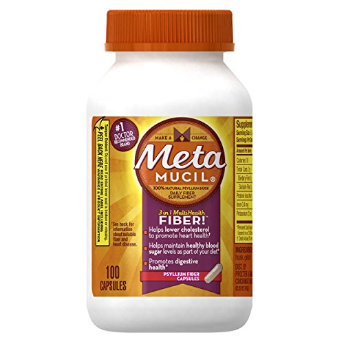 Metamucil Daily Fiber Supplement, Psyllium Husk Capsules, 100 Capsules