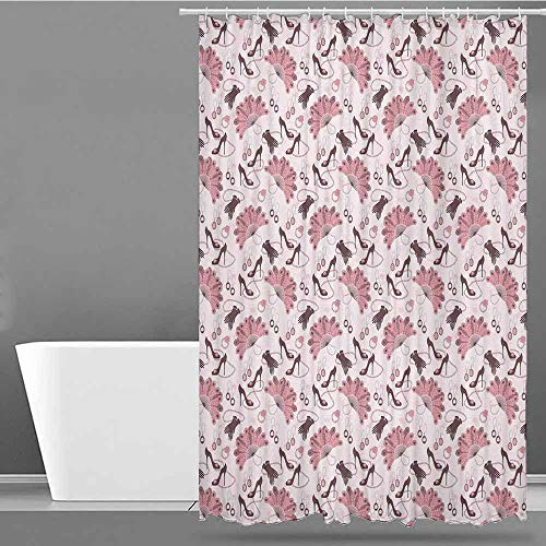 VIVIDX Polyester Shower Curtain,Vintage,Women Fashion Theme Old Fashioned Accessories Gloves Shoes Peacock Feather Earrings,Shower stall Curtain,W108x72L Pale Pink