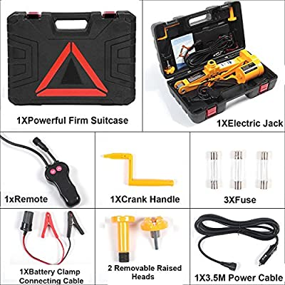 Electric Car Floor Jack 3 Ton All-in-one Automatic 12V Scissor Lift Jack Set for Sedans SUV w/Double Saddles Remote Tire Change Repair Emergency Tool Kits Vehicle Floor Jack Wheel Change(3T): Home Improvement