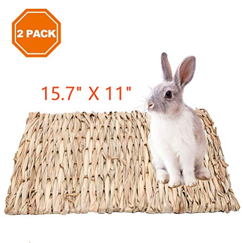 2 Pack Grass Mat for Rabbits Natural Hay Woven Bed Mat for Small Animal, Hamsters, Guinea Pigs, Chew Toys Bed