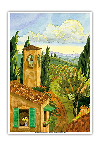 (Pacifica Island Art Tuscan Afternoon - Tuscany Italy - Italian Villa, Vineyards, Cypress Trees - From an Original Watercolor Painting by Robin Wethe Altman - Master Art Print - 13in x 19in)