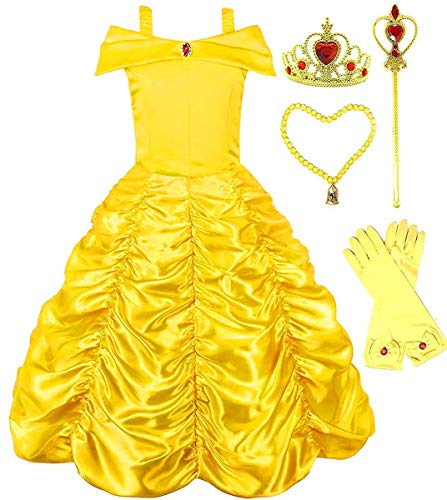 (Romy's Collection Princess Belle Yellow Party Costume Dress-Up Set (5-6,)
