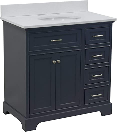 Amazon Com Aria 36 Inch Bathroom Vanity Quartz Charcoal Gray Includes Charcoal Gray Cabinet With Stunning Quartz Countertop And White Ceramic Sink Home Improvement