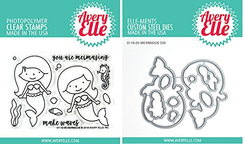 Avery Elle Mermaids Stamp and Die Sets - 2 Item Bundle
