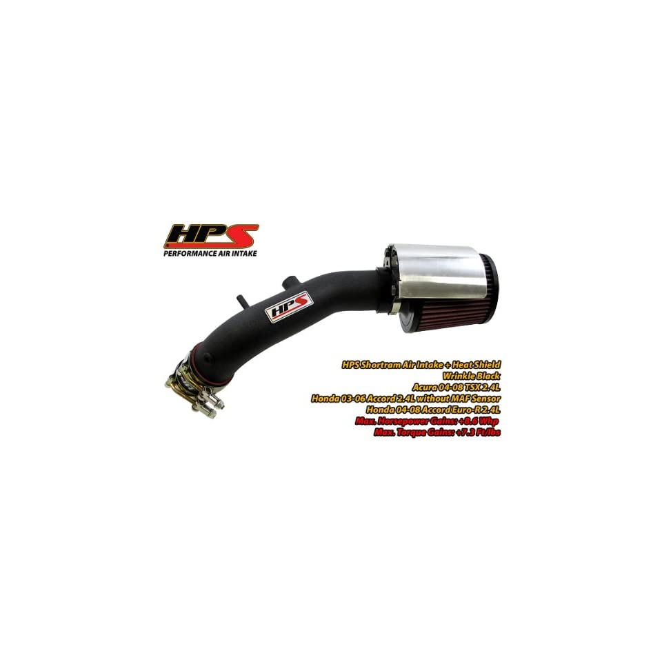 03 07 Honda Accord 4Cyl 2.4L Short Ram Intake by HPS (without MAF sensor)   Wrinkle Black