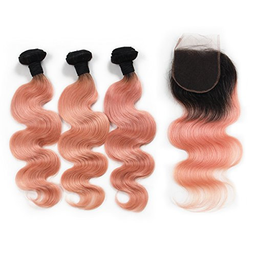 Riya-Hair-1B-Pink-3-Bundlespcs-with-Lace-Closure-Black-to-Pink-Ombre-Human-Hair-Extensions-with-Closure-Body-Wave-Brazilian-Virgin-Hair-Weaves-with-4X4-Closure