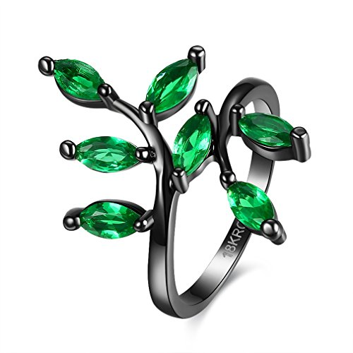 DIMORRY Black Gold Ring 18K Emerald Green Round Cubic Zirconia CZ Stones Ring Daily Wear Edge Of Leaf-Shaped Engagement Band Rings Size 6/7/8 - Small Deco Leaf Edge