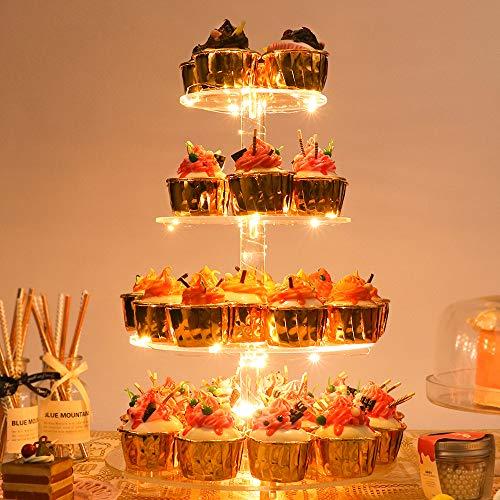 YestBuy Acrylic Cupcake Stand(4 Tier Round Yellow) ()