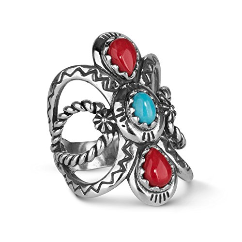 American West Sterling Silver Red Coral and Blue Turquoise Gemstone Twisted Rope & Zigzag Motif Ring Size 10