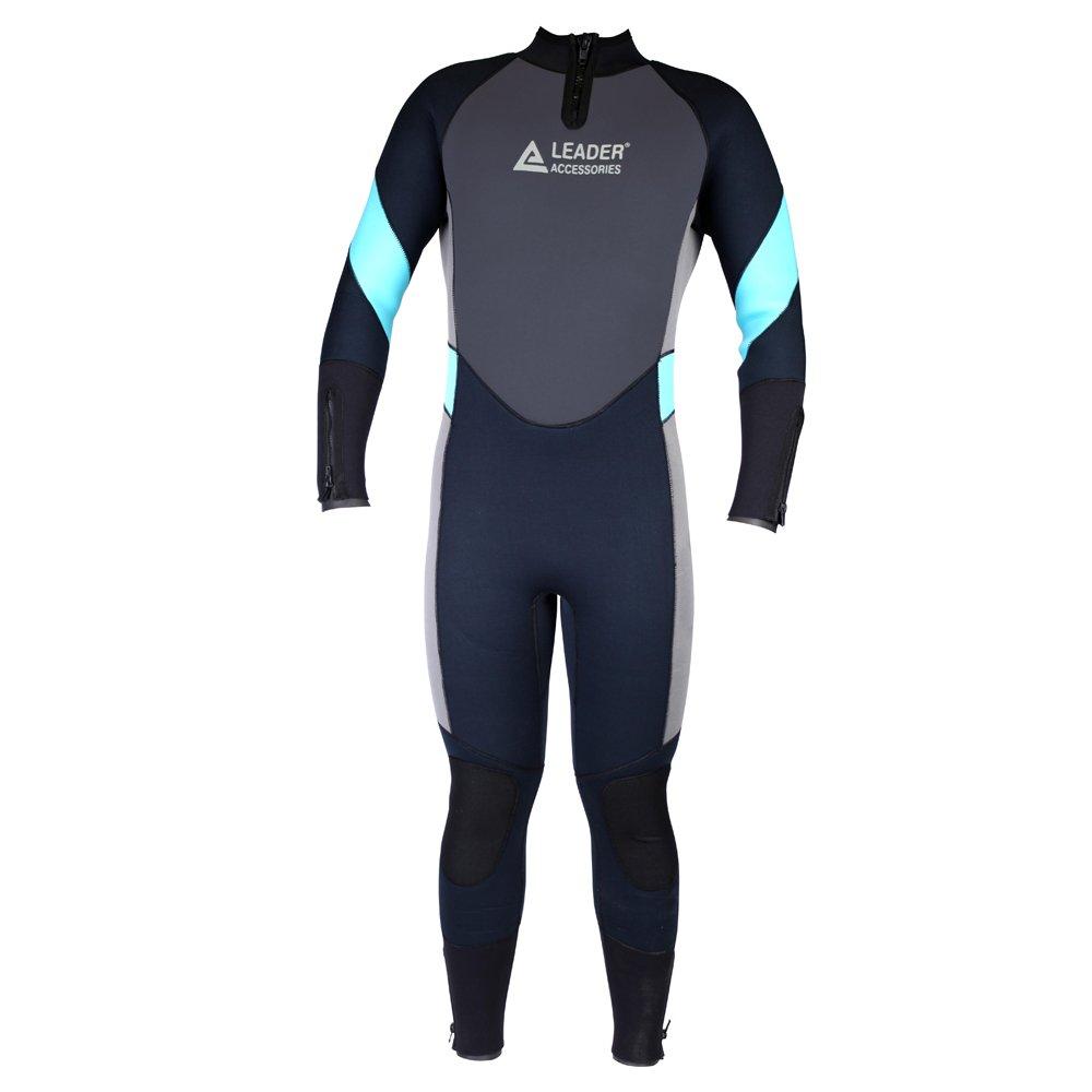 Leader Accessories Mens 5mm Black//Aqua Blue//Gray Wetsuit for Scuba Diving Fullsuit Jumpsuit