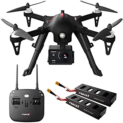 Compatible GoPro Drone with Camera 1080p – F100GP Ghost Drones with Cameras, RC HD Go Pro Camera Drone, Long Range Brushless Quadcopter w/Extra Battery by Force1