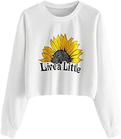 Women Teen Girls Crop Tops Hoodies Long Sleeve Sunflower Printing Drawstring Hooded Pullover Sweatshirt Blouses