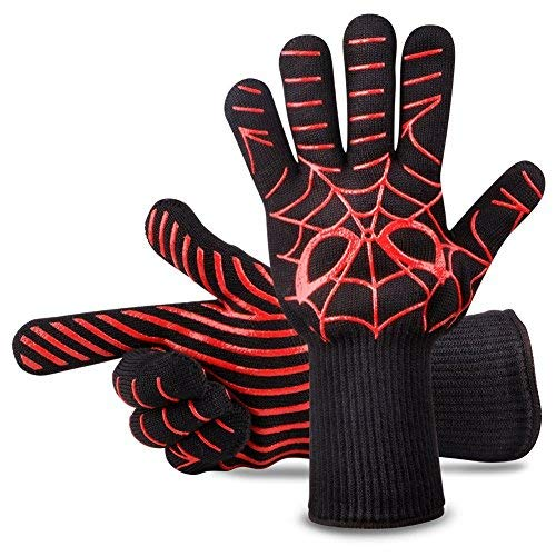 Panshi BBQ Gloves,932°F Heat Resistant Grilling Oven Glove,Kitchen Cooking Mitts with Forearm Protection,Non Slip Silicone Insulated Coating Grill Gloves, Spider Man Pattern(1 Pair) ()
