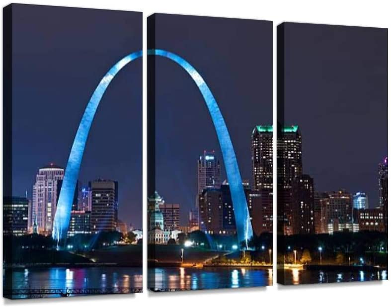 The Arch in The City of St Louis Print On Canvas Wall Artwork Modern Photography Home Decor Unique Pattern Stretched and Framed 3 Piece