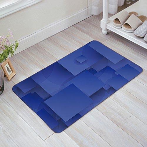 (IDOWMAT Doormat Rugs Indoor/Shower Bathroom/Front Door Entrance Floor Mats Home Welcome Shoe Scraper Door Mats Non-Slip, 30x18 Inch Blue Square Ggeometry)