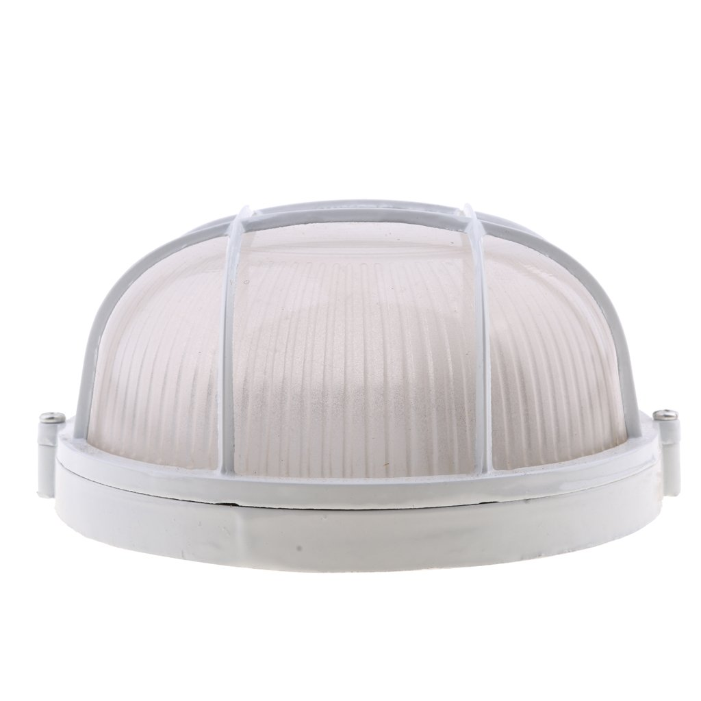 Homyl Explosion Proof Vapor-Proof Sauna Steam Room Light Lampshade Guard - White, Oval