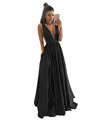 Promworld Women\'s Party Dress V-Neckline Taffeta Prom Dresses Long ...
