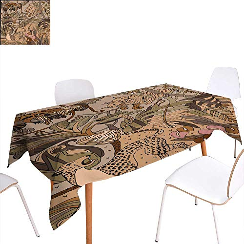 longbuyer Printed Tablecloth Leopard Lynx and Raccoon in The Jungle Coloring Page Exotic Flowers and Wild Animals Rectangle/Oblong W 54
