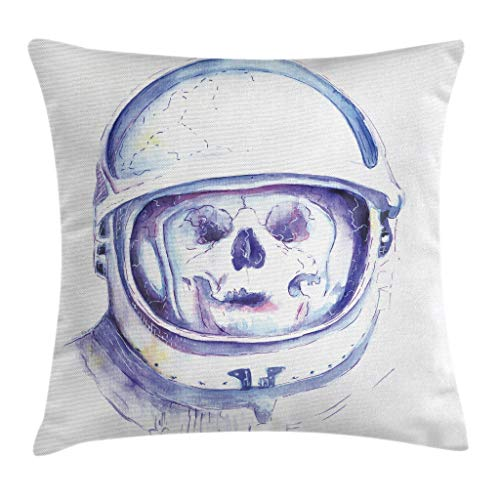 """Ambesonne Skull Throw Pillow Cushion Cover, Astronaut Exploring The Space and Planets Universe Galaxy Cosmos Theme Watercolors, Decorative Square Accent Pillow Case, 16"""" X 16"""", Purple White"""