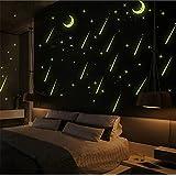 ufengke Meteor Shower Romantic Night Sky Wall Decals Fluorescence Stickers Glow In The Dark, Children's Room Nursery Removable Wall Stickers Murals